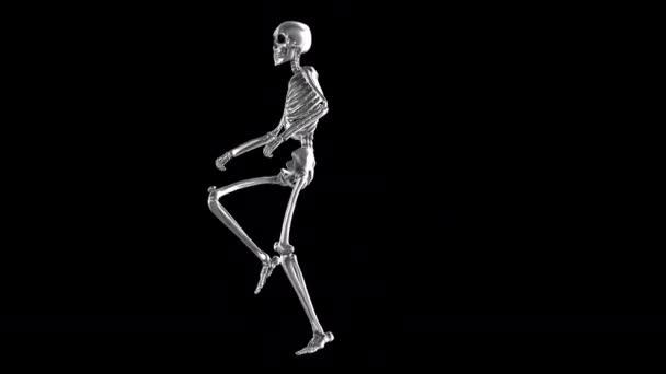 Animace strašidelné tančící kostry. Vtipné kreslené postavičky pro Halloween pozadí.