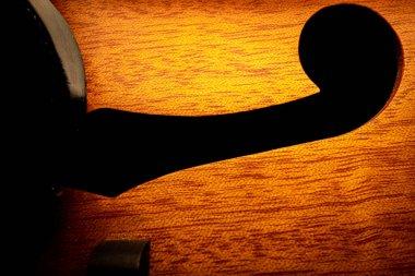 Macro shot of body and f shaped hold on mandolin