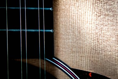 Close Up of 12 String Guitar Neck and Body