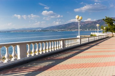 The embankment in the city of Gelendzhik, view from the thick cape