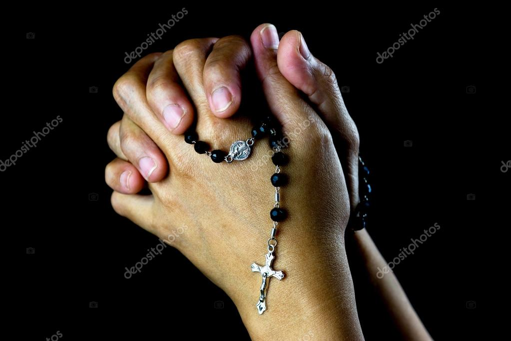 Asian Praying Hands With Silver Rosary — Stock Photo © Bigal04uk #97968864