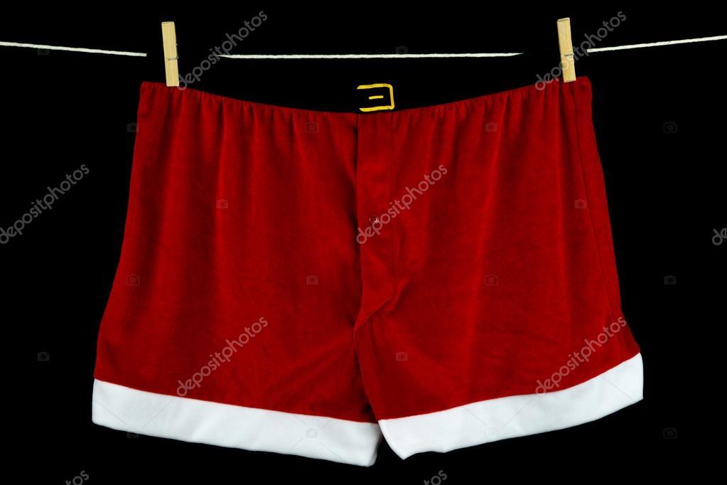 Kerst Ondergoed Op De Waslijn Op Zwarte Achtergrond Stockfoto