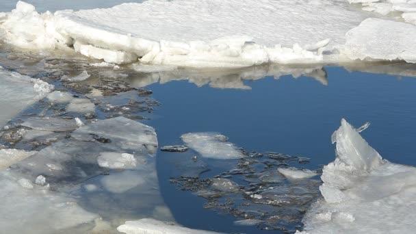 sonniger Tag, Eis und Wasser auf dem Fluss.
