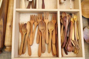 The handmade wooden utensils