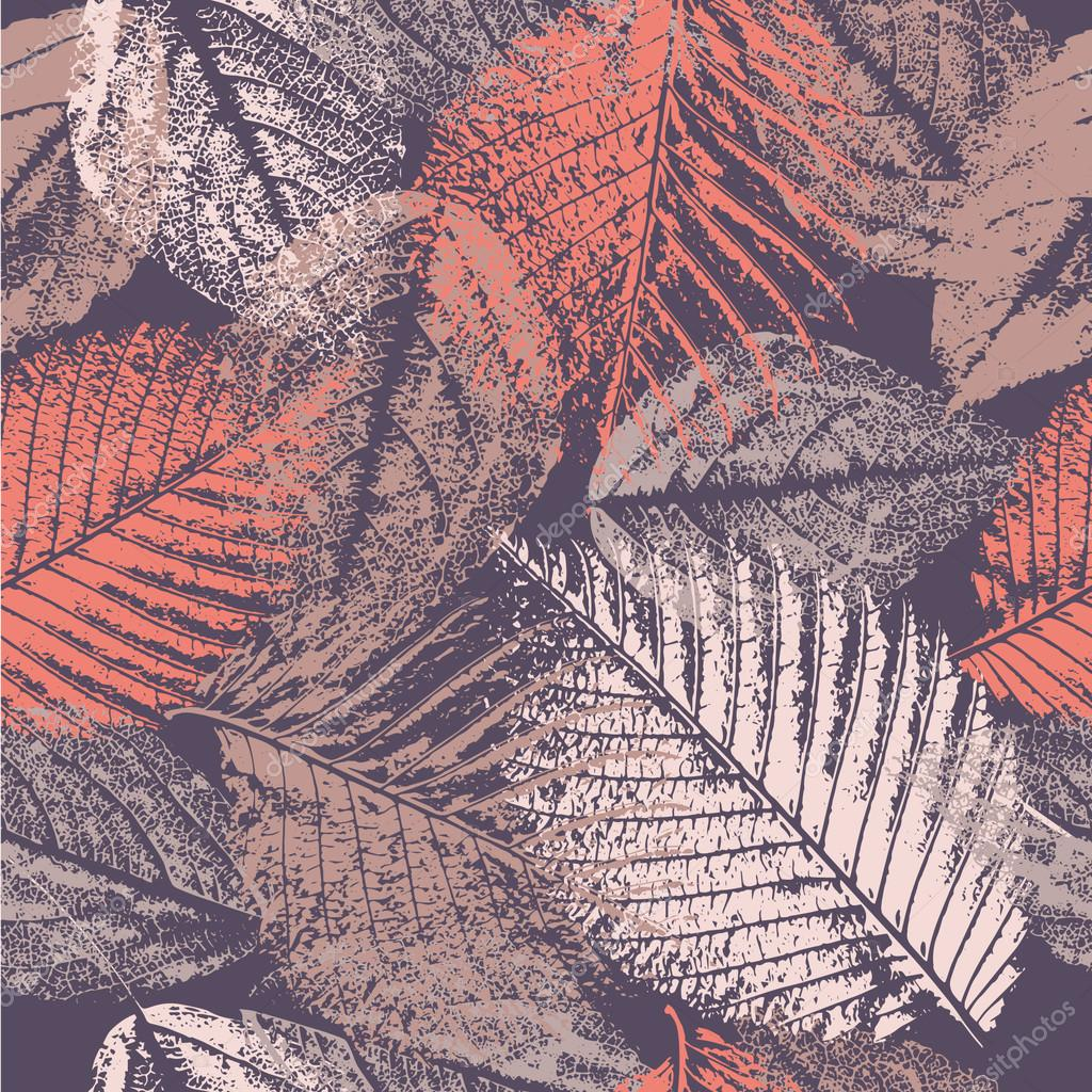 Seamless pattern with leaves prints