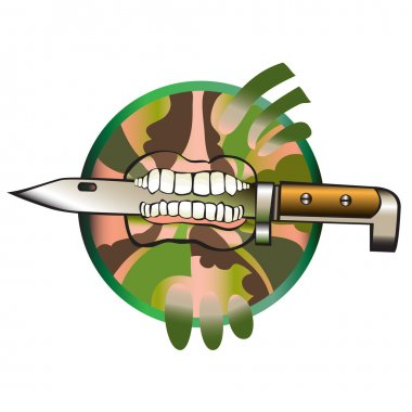 Soldiers knife, which holds in the teeth of soldiers.