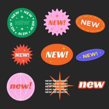 Stickers for New Arrival shop product tags, new labels or sale badges and banners vector sticker icons templates retro design. icon