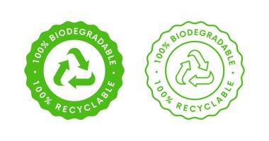 Biodegradable label sign vector design. 100 precent Bio Recycling and Degradable Icon. icon