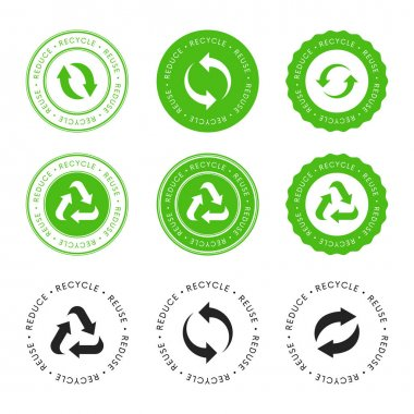 Collection Of Eco stickers. Recycle Reuse Reduce lablel icons. Bio recycled sign. Package packet logo. icon