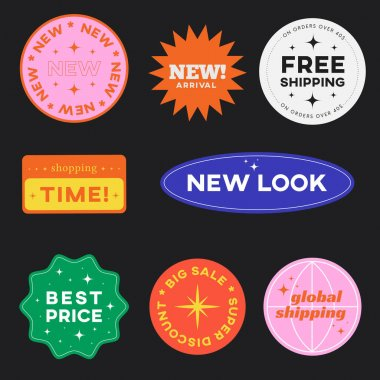 Set of Shopping Stickers Retro Design. Cute Sale label badges. Trendy Free Shipping, New Look, Big Sale, Best Price Banners Pack. Vector Illustration. icon