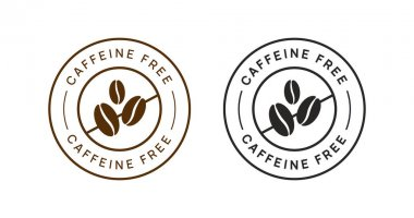 Caffeine Free Vector Circle Icon Badge Sign. No Coffee Sticker. icon