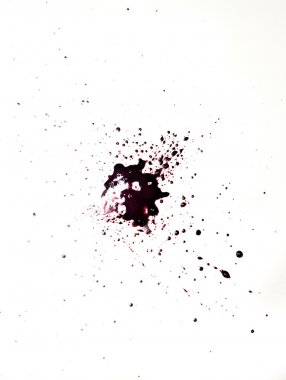 Red drop of blood with splashes from a paint on a white background