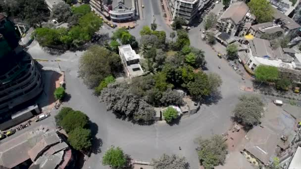 MUMBAI /INDIA - MARCH 22, 2020: Aerial view of a deserted Jacob Circle, Mahalaxmi during the government-imposed nationwide lockdown as a preventive measure against the COVID-19 coronavirus.
