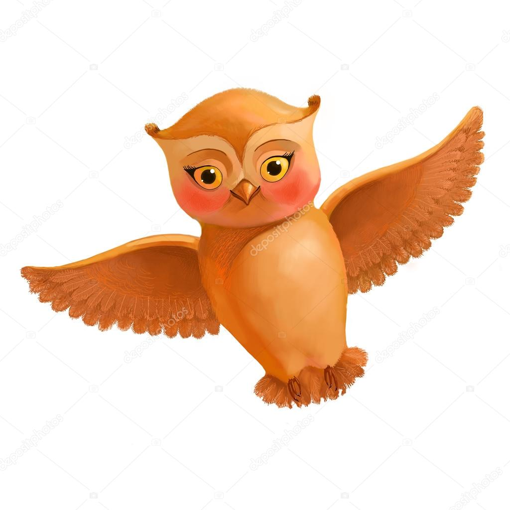 Flying Owl Icon Illustration In Cartoon Style Of A Brown