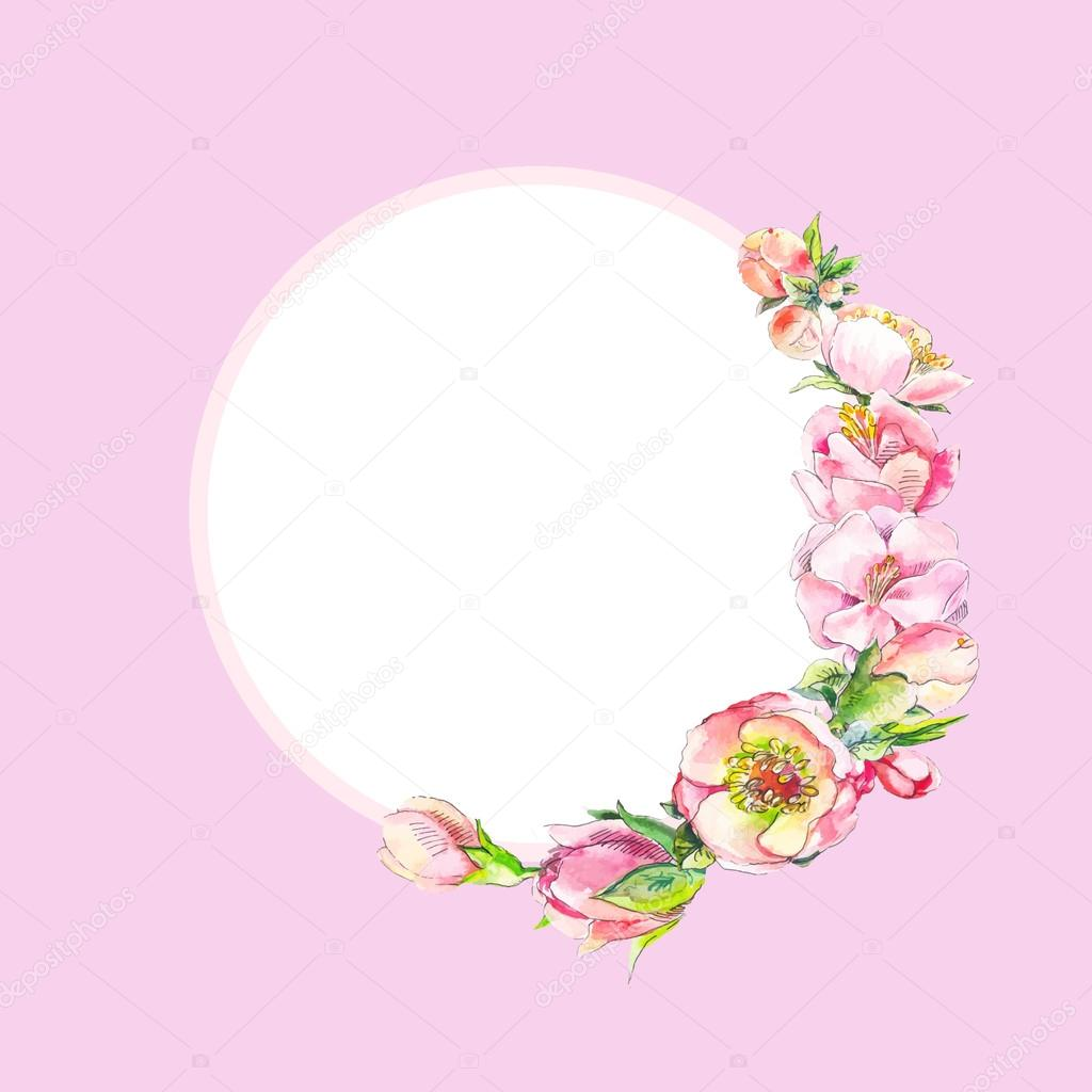 Round frame with pink watercolor flowers. Frame of dog rose flow ...