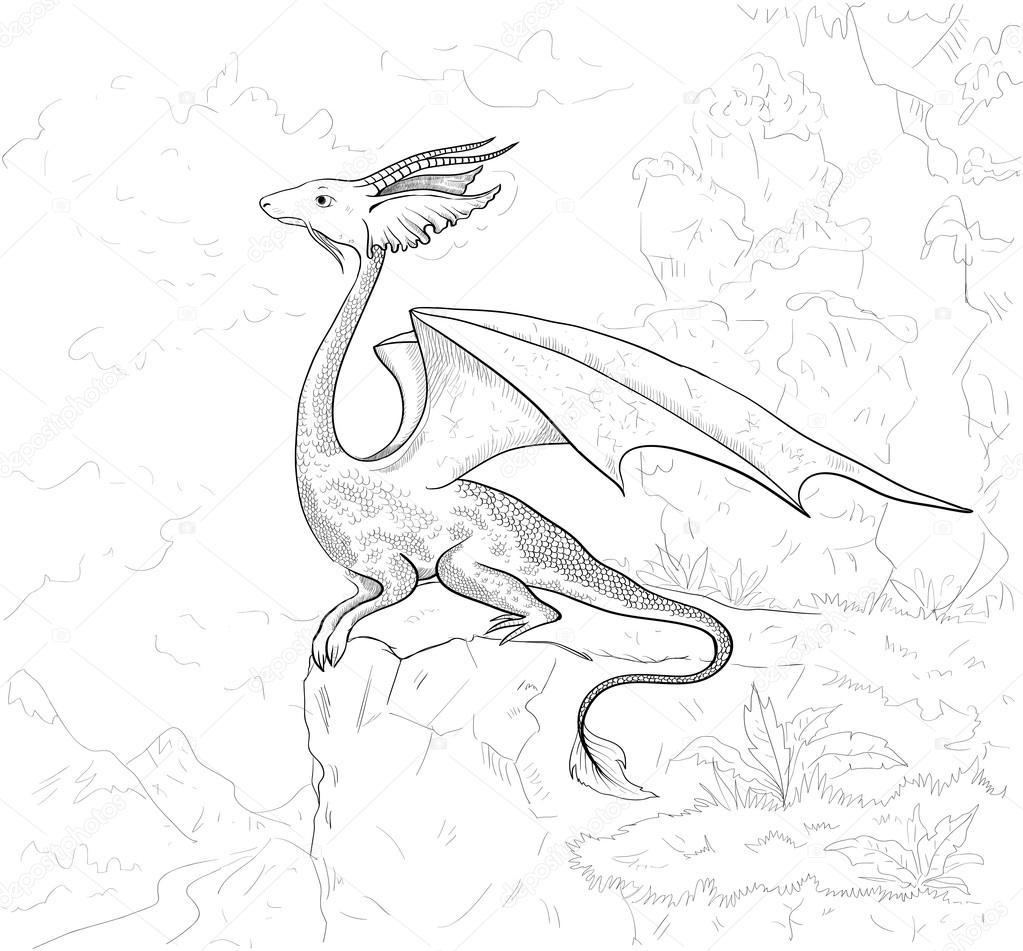 Gratis Kleurplaten Draken.Kleurplaat Draak Dragon Contour Voor Coloring Boek Stockvector