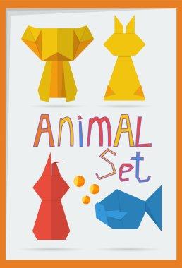 set of geometric animals