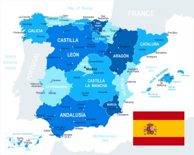 Spain - map and flag - illustration