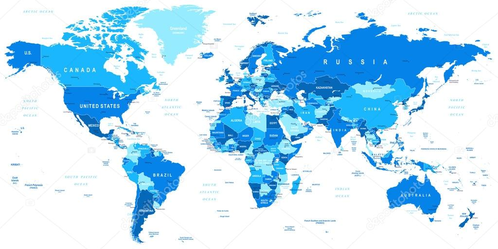 Azul el mapa del mundo fronteras pases y ciudades ilustracin highly detailed vector illustration of world map vector de dikobrazik gumiabroncs Choice Image