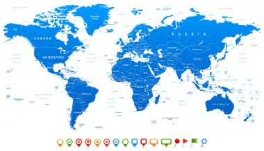 Highly detailed world map: countries, cities, water objects stock vector