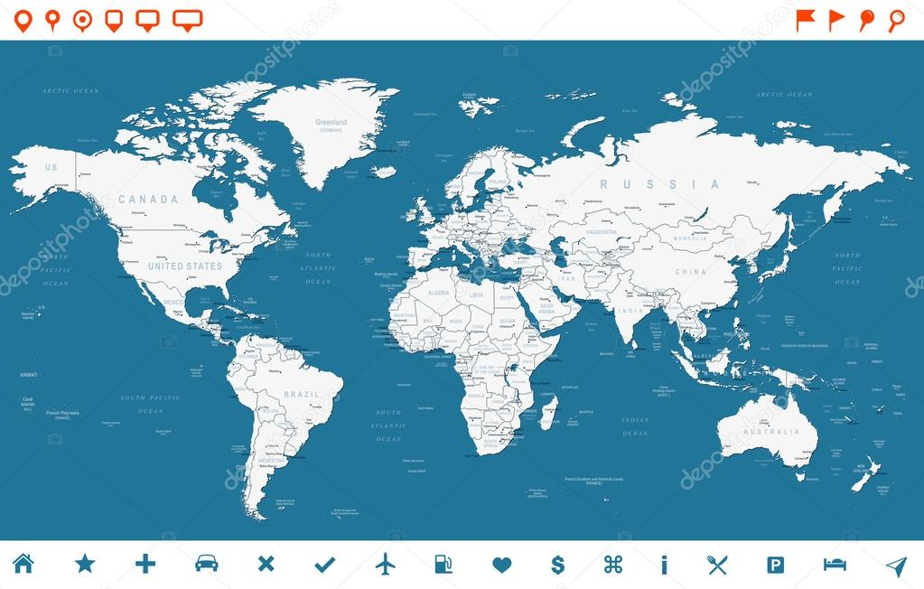 Steel blue world map and navigation icons illustration stock highly detailed world map countries cities water objects vector by dikobrazik gumiabroncs Image collections