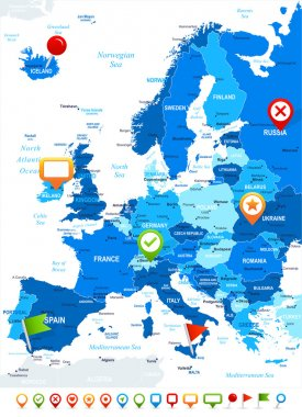 Europe - map and navigation icons - illustration