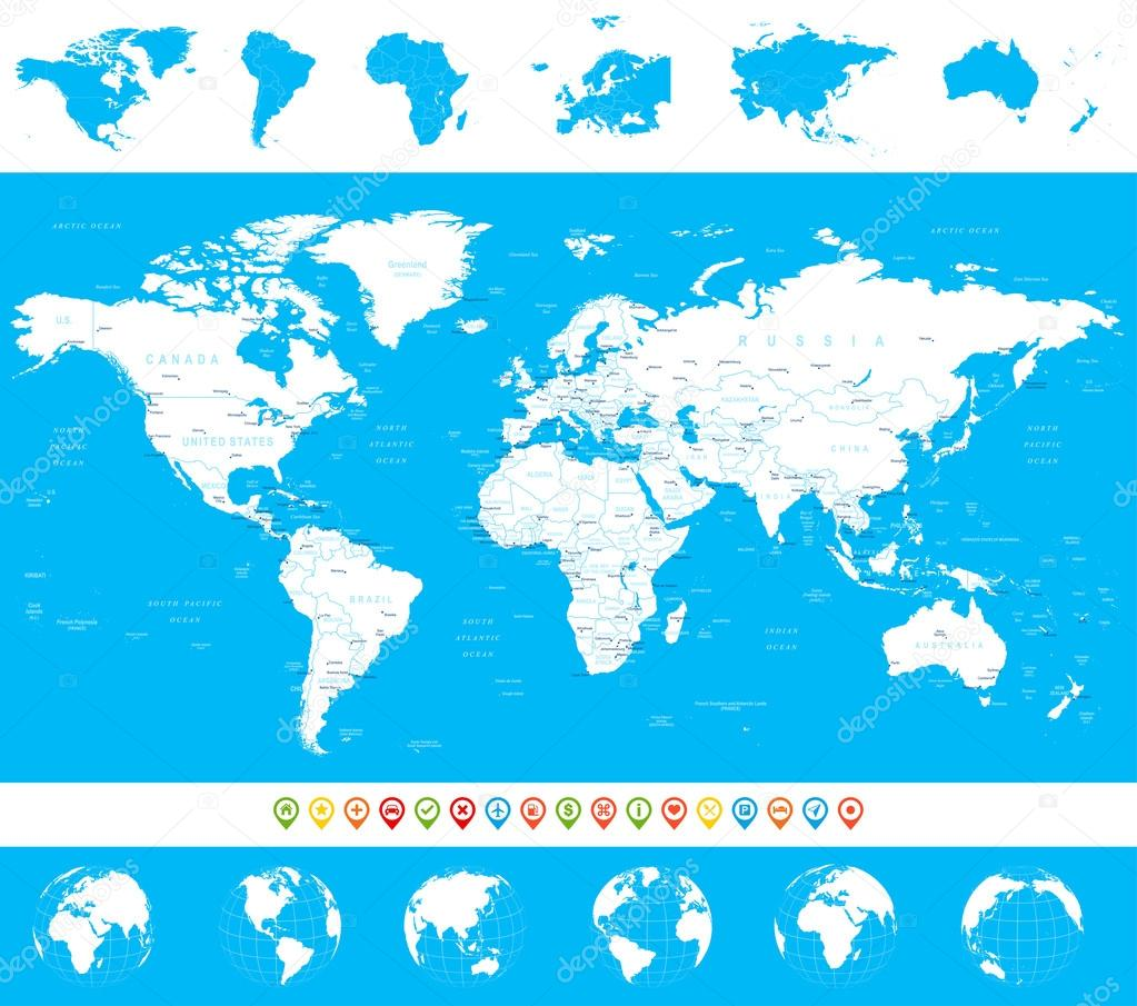 World map globes continents navigation icons illustration world map globes continents navigation icons illustration stock vector gumiabroncs Image collections