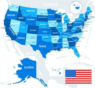 United States (USA) - map and flag - illustration.