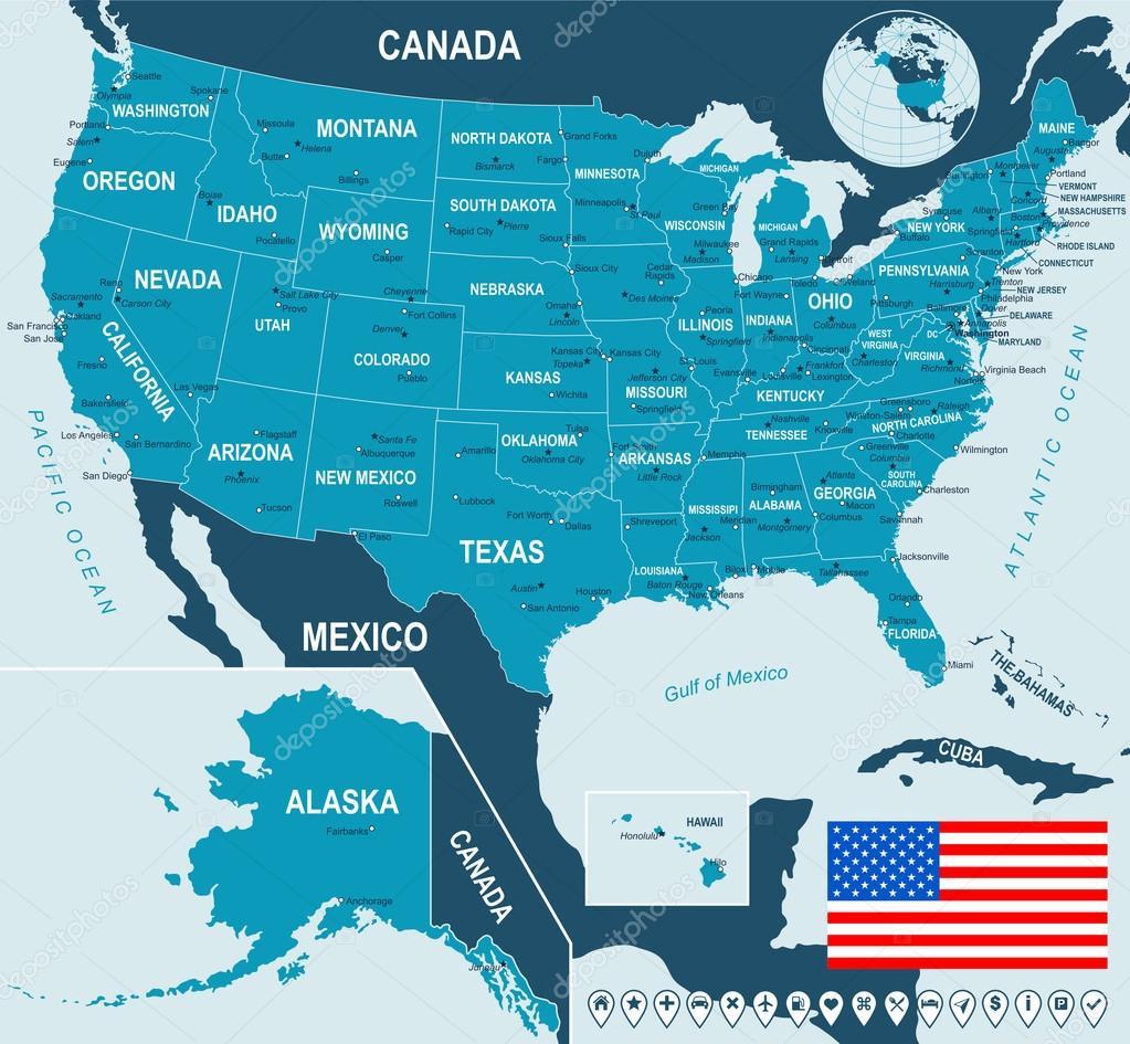 United States, USA - map, flag and navigation labels - illustration.