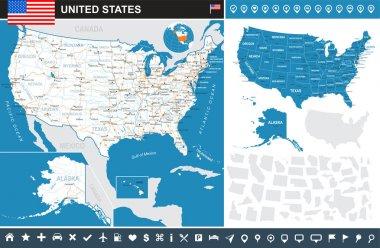 United States (USA) - infographic map - illustration.