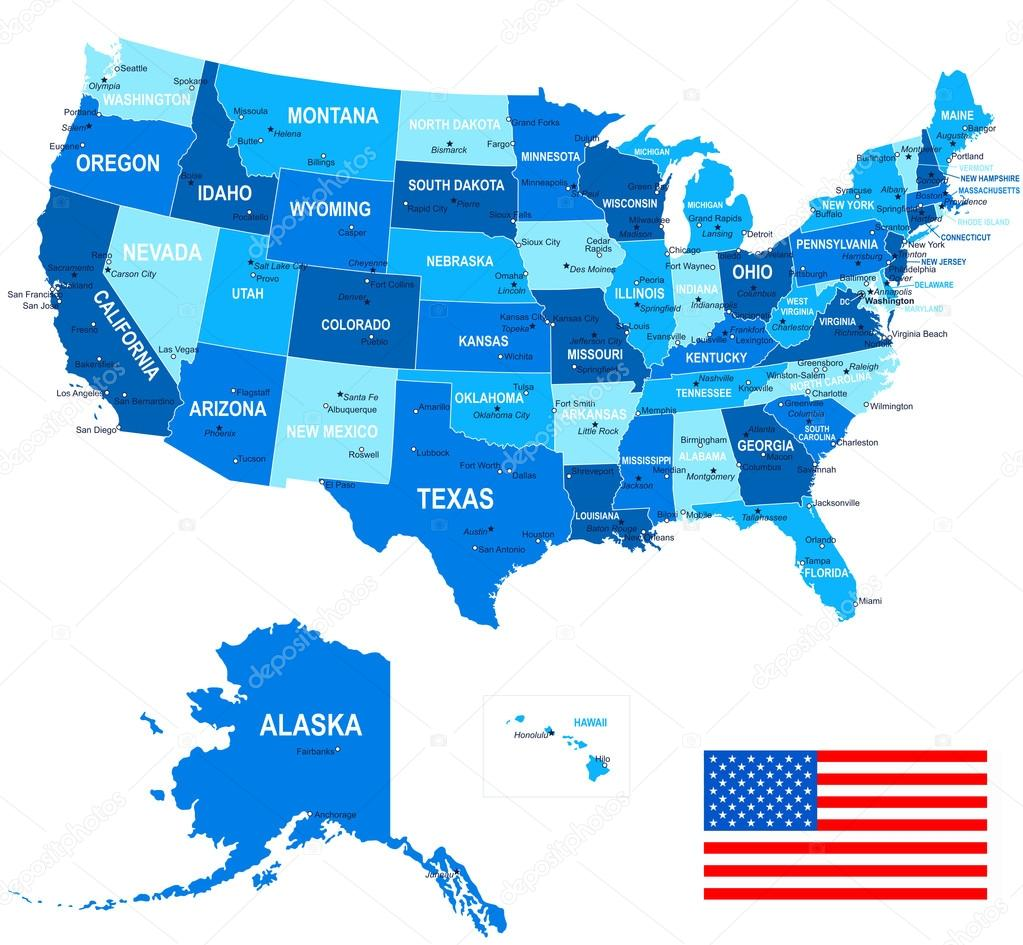 United States (USA) - map, flag and navigation icons - illustration ...