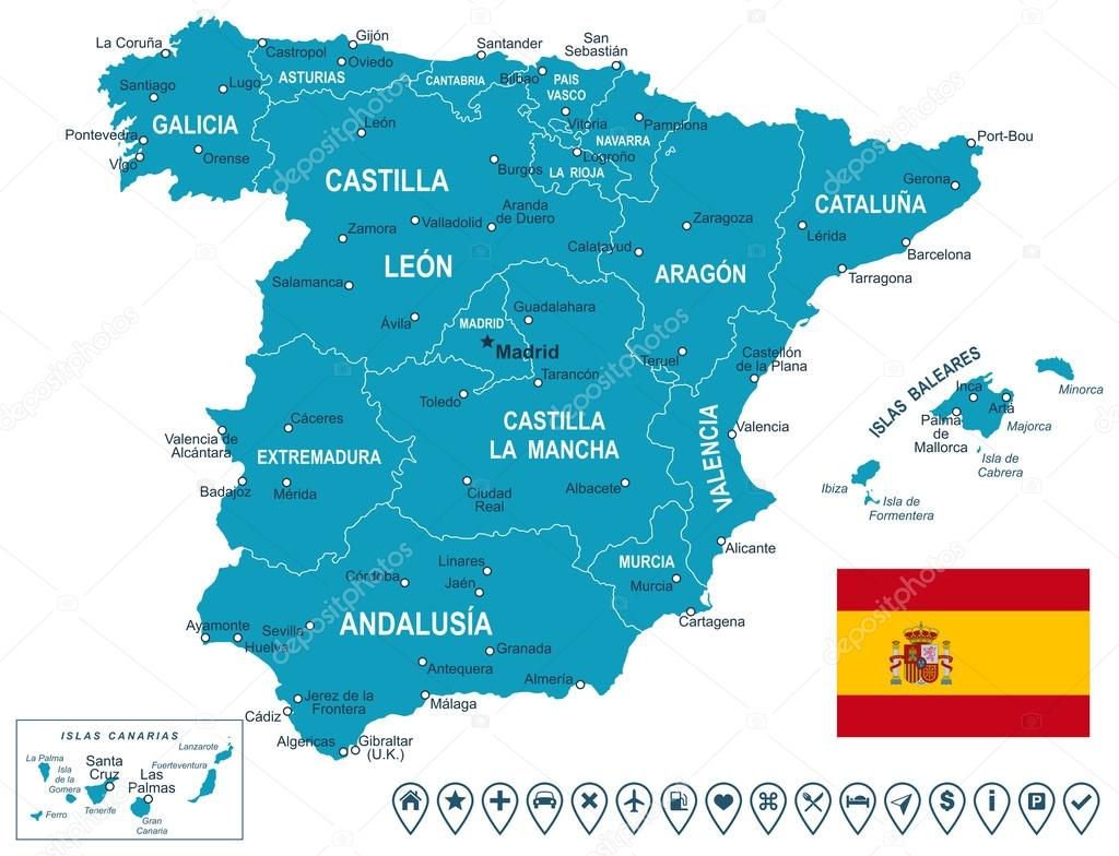 Spain map map flag and navigation labels illustration Stock