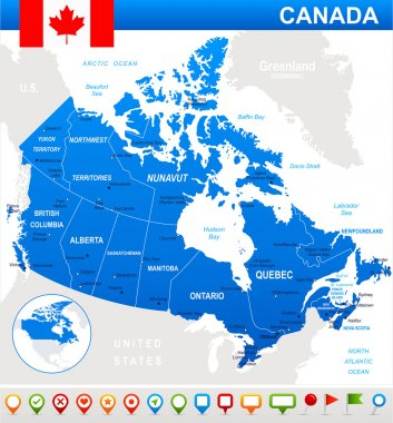 Canada map, flag and navigation icons - illustration.