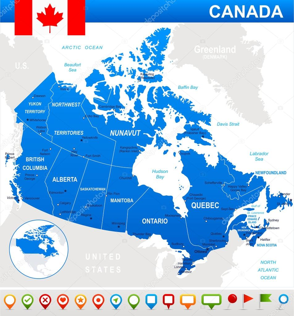 Karta Pa Kanada.Kanada Karta Flagga Och Navigering Ikoner Illustration Stock