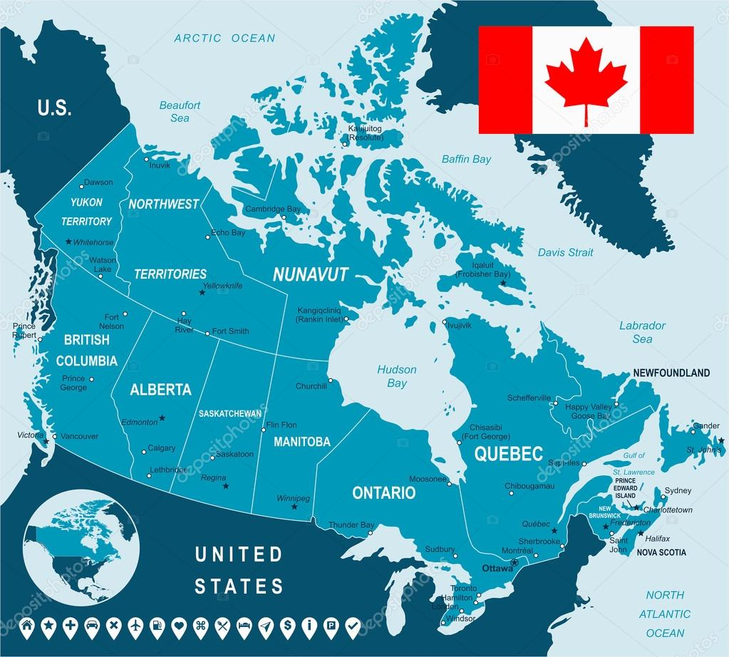 map of canada and flag highly detailed vector illustration image contains next layers there are land contours country and land names city names
