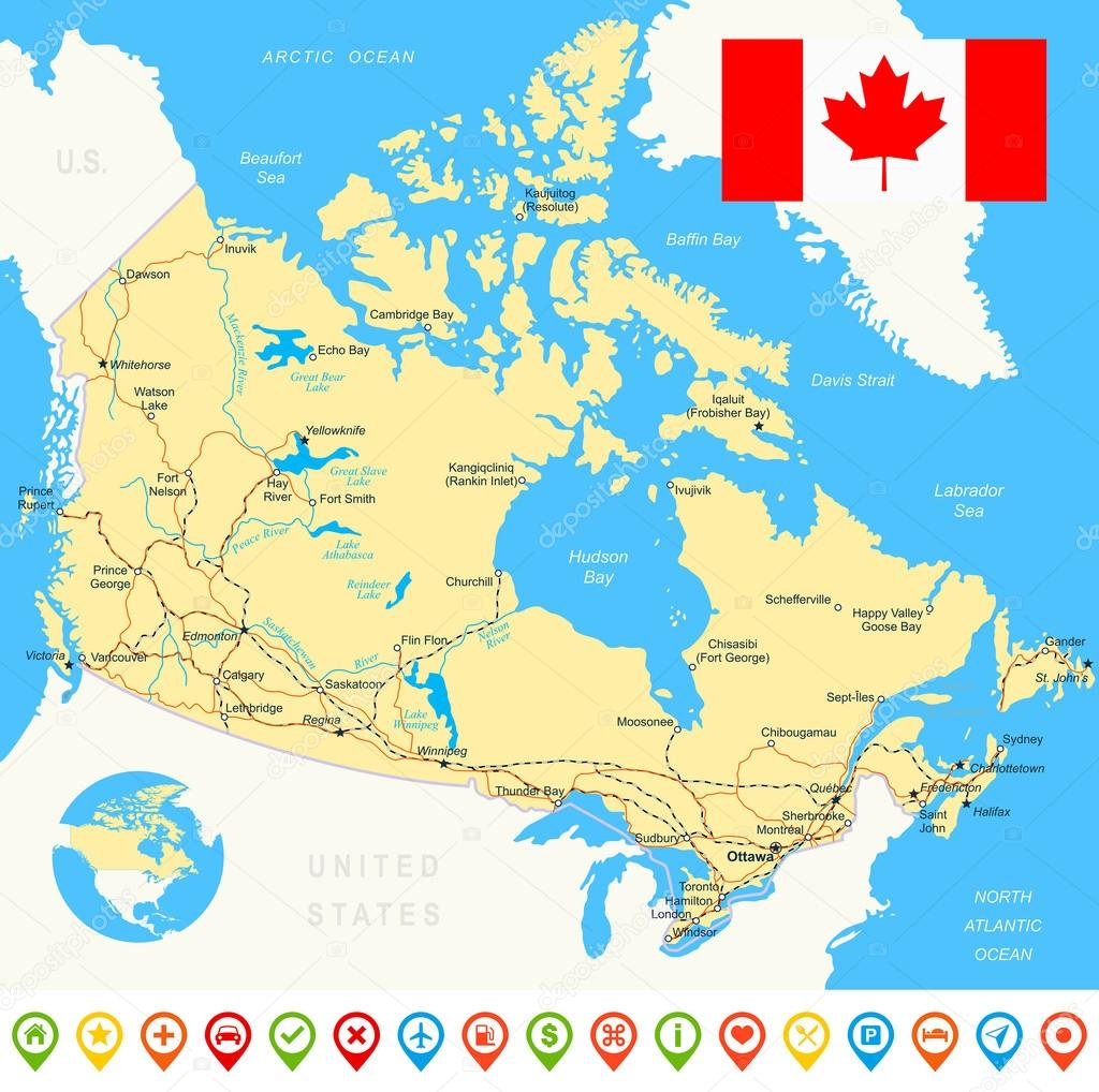 Canada Map Flag Navigation Icons Roads Rivers Illustration