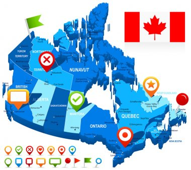 Canada map 3D, flag and navigation icons - illustration.