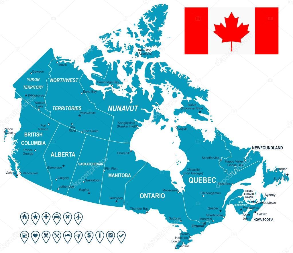 Canada Map Flag And Navigation Labels Illustration Stock