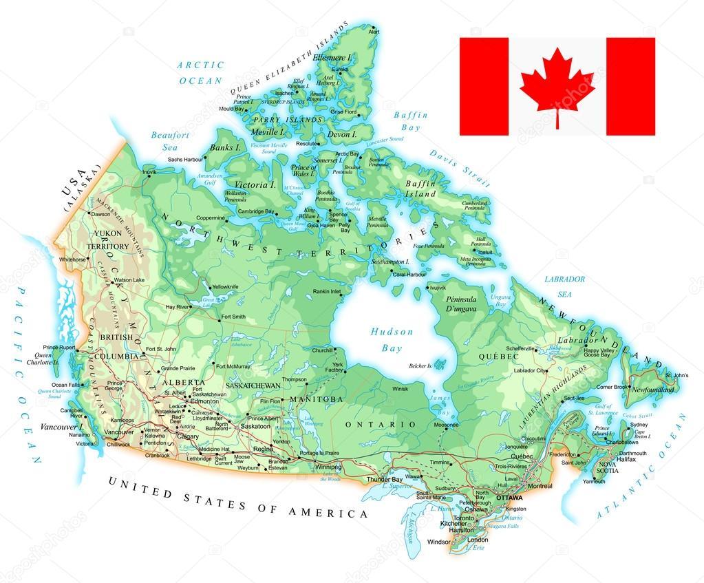 Karta Pa Kanada.Kanada Detaljerad Topografisk Karta Illustration Stock Vektor