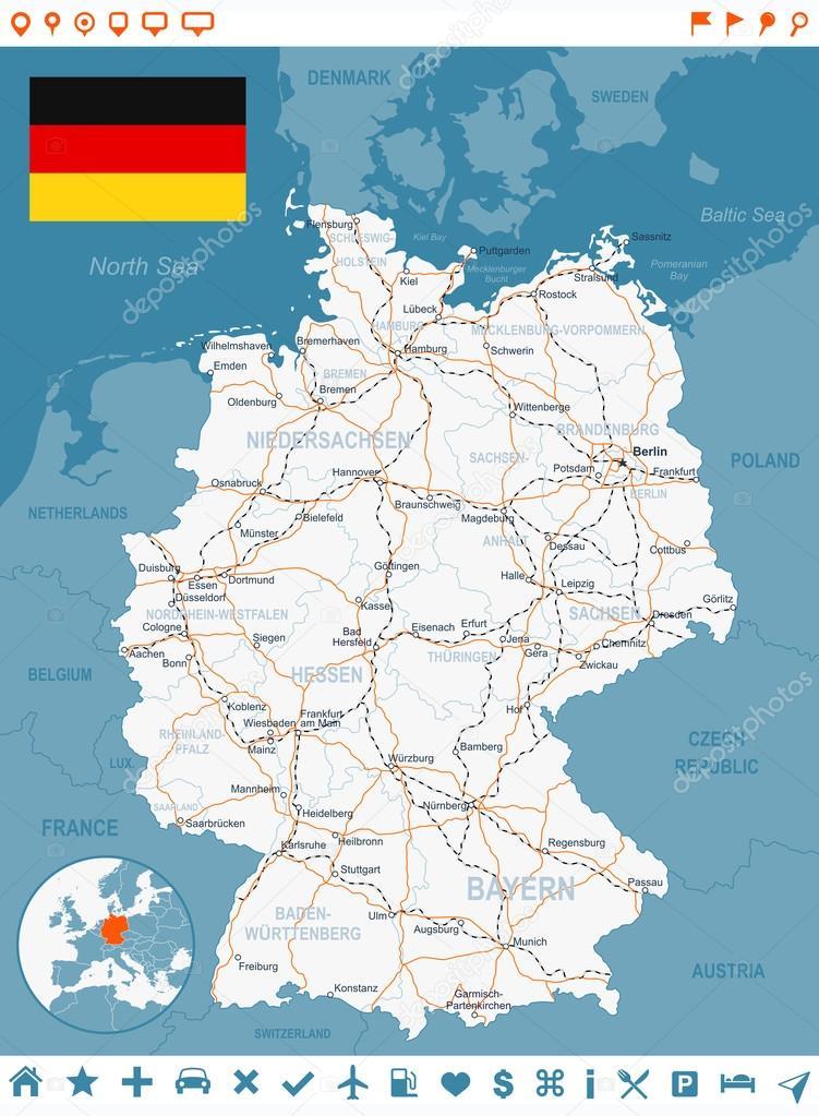 Germany map flag navigation labels roads illustration Stock