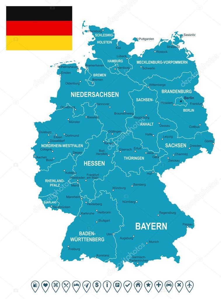 Germany map flag and navigation labels illustration Stock