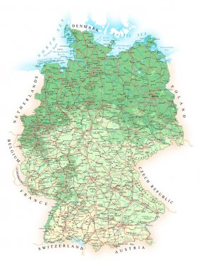 Germany - detailed topographic map - illustration.