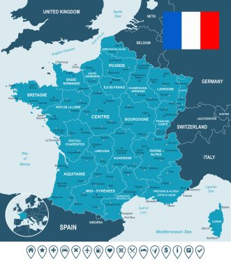France map, flag and navigation labels - illustration.
