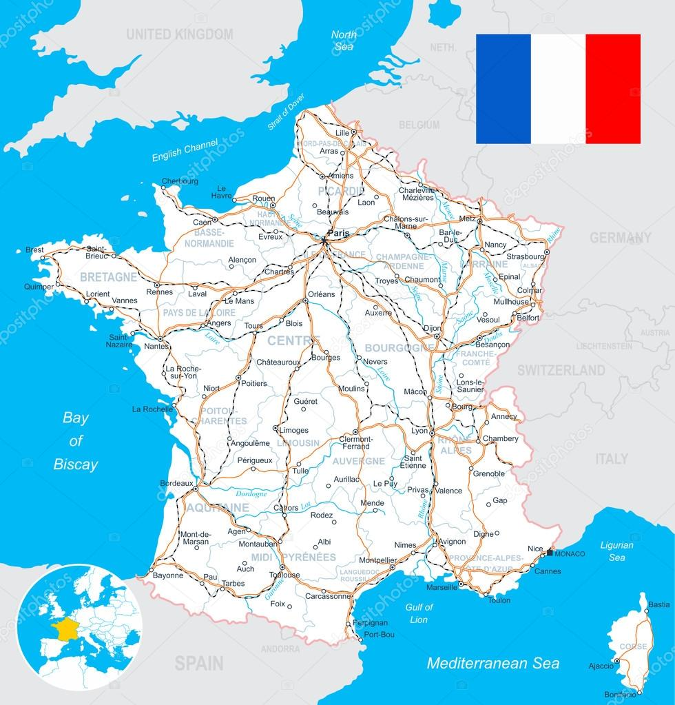 mapa estradas frança Mapa da França, bandeira, estradas   ilustração — Vetores de Stock  mapa estradas frança