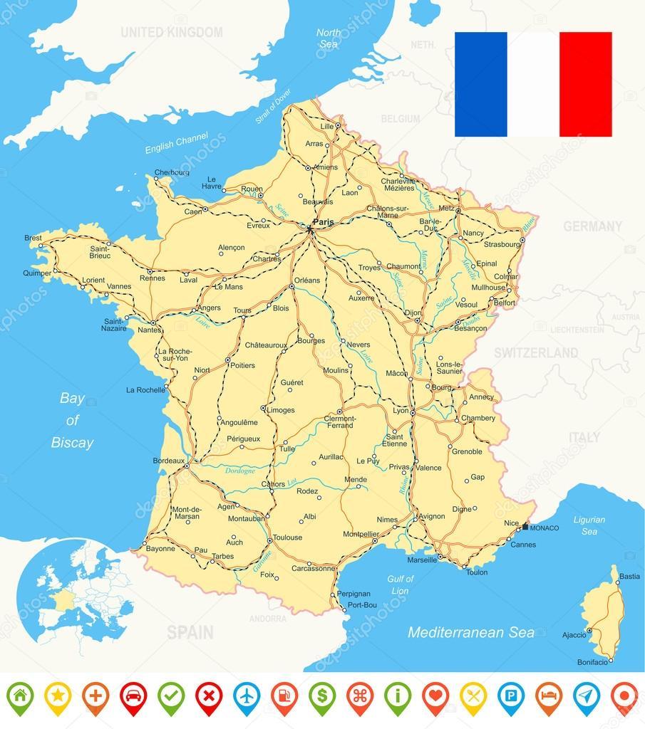 frankrike karta Frankrike karta, flagga, navigering ikoner, vägar, floder  frankrike karta