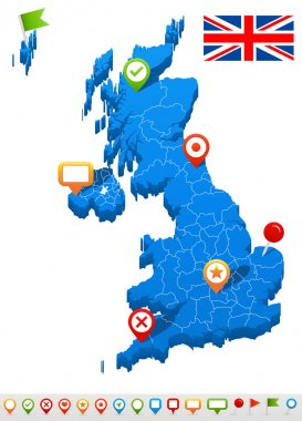 United Kingdom map and navigation icons - Illustration.