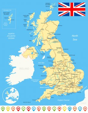 United Kingdom map, flag, navigation icons, roads, rivers - illustration.