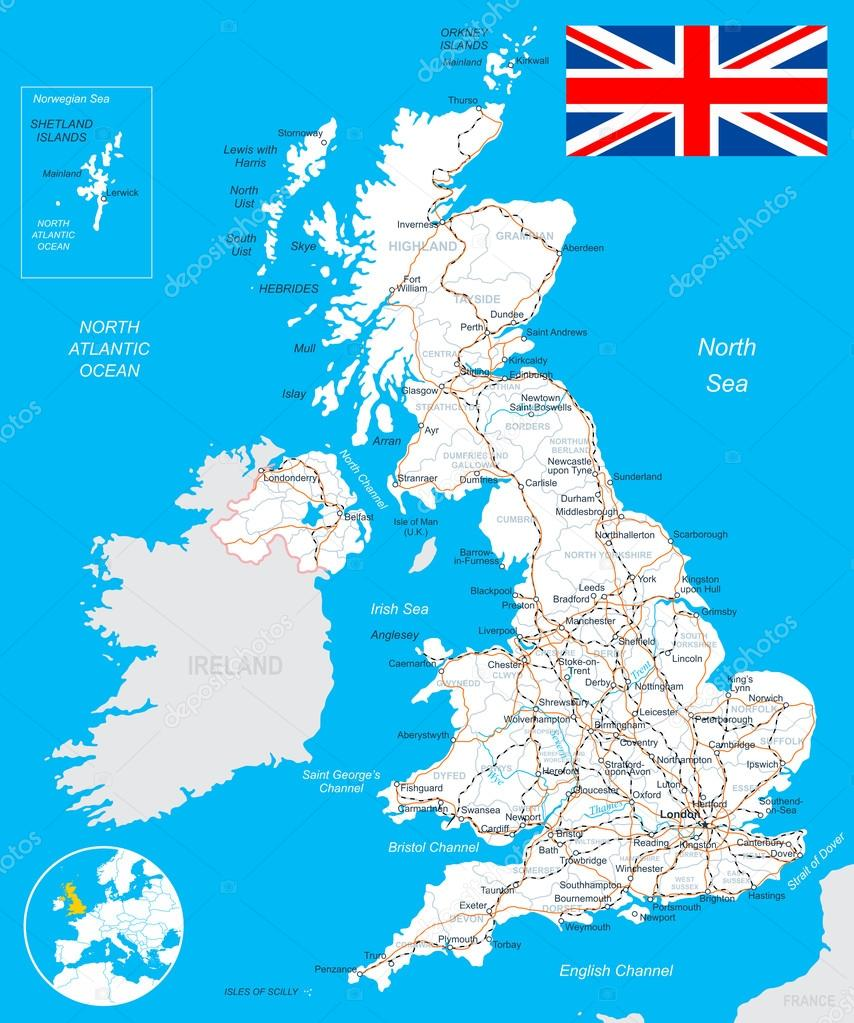 Mapa De Gran Bretaña En Español.Mapa De Gran Bretana En Espanol Mapa De Reino Unido