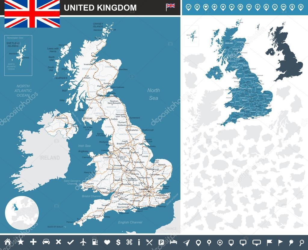 United Kingdom infographic map - illustration.