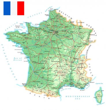 France - detailed topographic map - illustration.